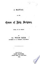 A Manual On The Canon Of Holy Scripture