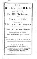 The Holy Bible, Containing the Old Testament and the New: ... ebook