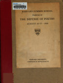 Harvard Summer School Conference on the Defense of Poetry  August 14 17  1950 Book