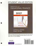 Principles of Managerial Finance  Brief  Student Value Edition