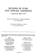 Reviews of Pure and Applied Chemistry