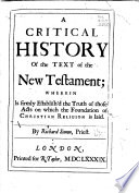 A Critical History Of The Text Of The New Testament Book PDF