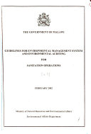 Guidelines for Environmental Management System and Environmental Auditing for  name of Operations   Sanitation operations