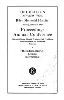 Pdf Dedication Kiwanis Wing Riley Memorial Hospital, Tuesday, January 7, 1930 ...