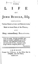 The Life of John Buncle  Esq
