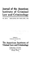 Journal of Criminal Law and Criminology Book