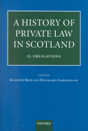 A History of Private Law in Scotland: Volume 2: Obligations