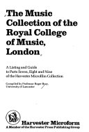 The Music Collection Of The Royal College Of Music London Book PDF