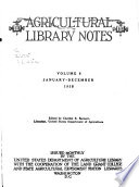 Agricultural Library Notes