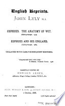 Eupheus  the Anatomy of Wit  Eupheus and His England