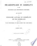Shakespeare in Germany in the Sixteenth and Seventeenth Centuries