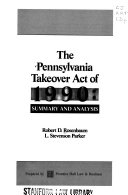 The Pennsylvania Takeover Act Of 1990 Book PDF
