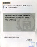 California Renewable Energy Forecasting  Resource Data  and Mapping