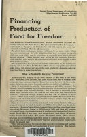 Financing Production of Food for Freedom