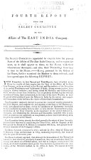 Report from the Select Committee on the Affairs of the East India Company