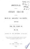 Journal of the Ceylon Branch of the Royal Asiatic Society Book