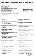 Bell Journal of Economics Book