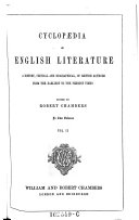 Cyclopaedia of English literature ; a history, critical and biographical, of British authors from the earliest to the present times