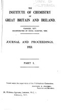 Journal of the Royal Institute of Chemistry Book
