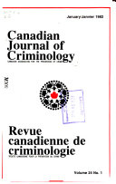 Canadian Journal of Criminology Book