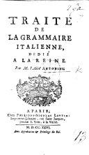 Pdf Traité de la grammaire italienne, etc