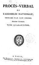 Procès-verbal de l'assemblée des communes et de l'Assemblée nationale, imprimé par son ordre