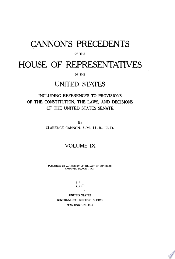Cannon's Precedents of the House of