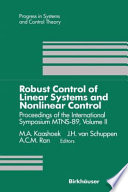 Robust Control Of Linear Systems And Nonlinear Control Book PDF