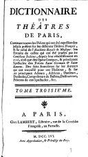 Dictionnaire des théâtres de Paris