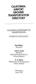 California Airport Ground Transportation Directory Book