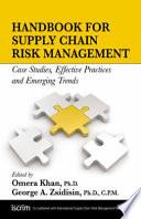 Handbook for Supply Chain Risk Management Book