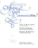 Invitation to Effective Speech Communication