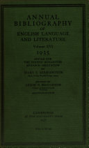 Annual Biblography of English Language and Literature