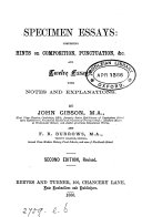 Specimen Essays Hints On Composition Punctuation C By J Gibson And F R Burrows