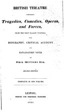 British theatre  comprising tragedies  comedies  operas  and farces  with biogr   critical account and notes  by an Englishman  O  Williams   By O  Williams