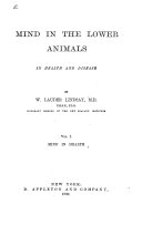 Mind in the Lower Animals, in Health and Disease