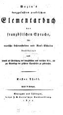 Kurzgefaßtes praktisches Elementarbuch der französischen Sprache
