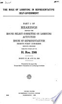Hearings Before the House Select Committee on Lobbying Activities