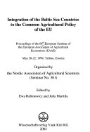 Integration of the Baltic Sea Countries to the Common Agricultural Policy of the EU