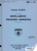 Inspection Handbook: Miscellaneous Processed Commodities