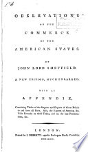 Observations on the Commerce of the American States Book