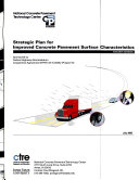 Strategic Plan for Improved Concrete Pavement Surface Characteristics