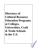Directory Of Cultural Resource Education Programs