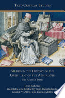 Studies In The History Of The Greek Text Of The Apocalypse