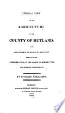 General View of the Agriculture of the County of Rutland