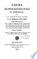 Cours de procédure civile et criminelle, fait à la faculté de droit de Paris