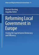 Reforming Local Government In Europe Book