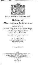 Cultivated Crop Plants of the British Empire and the Anglo Egyptian Sudan  Tropical and Subtropical