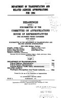 Department of Transportation and Related Agencies Appropriations for 1994  Department of Transportation  Federal Highway Administration