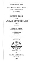 Source Book for African Anthropology     Book PDF